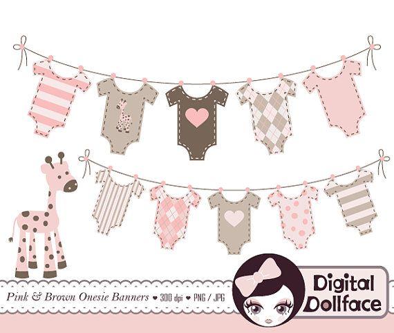 Baby Bunting Banner Clip Art Baby Girl Shower Clipart Digital Graphics Banner Clip Art Clip Art Baby Girl Art