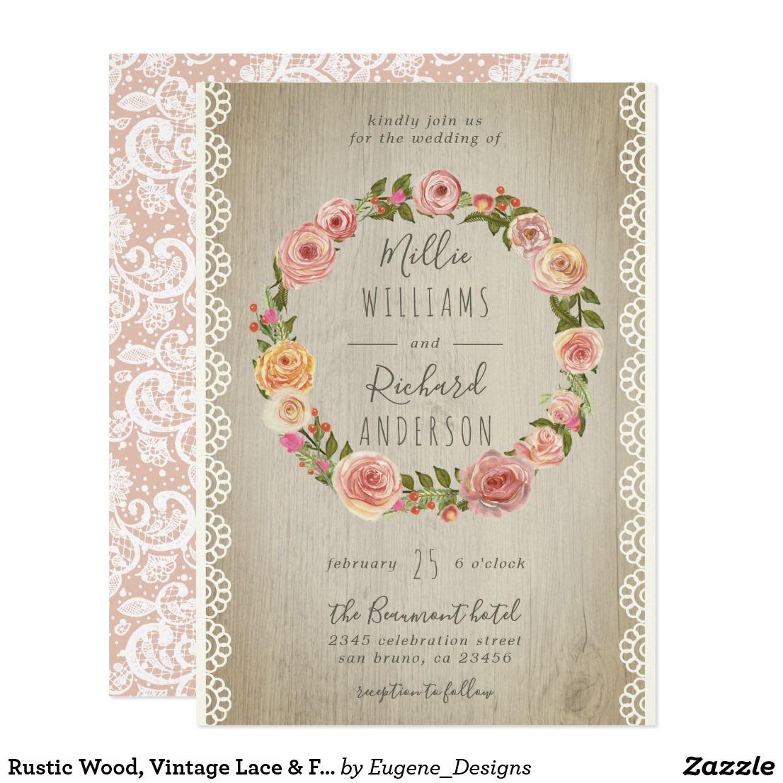 Rustic Wood Vintage Lace Floral Wreath Wedding Invitation: Rustic Wood Floral Wedding Invitations At Reisefeber.org