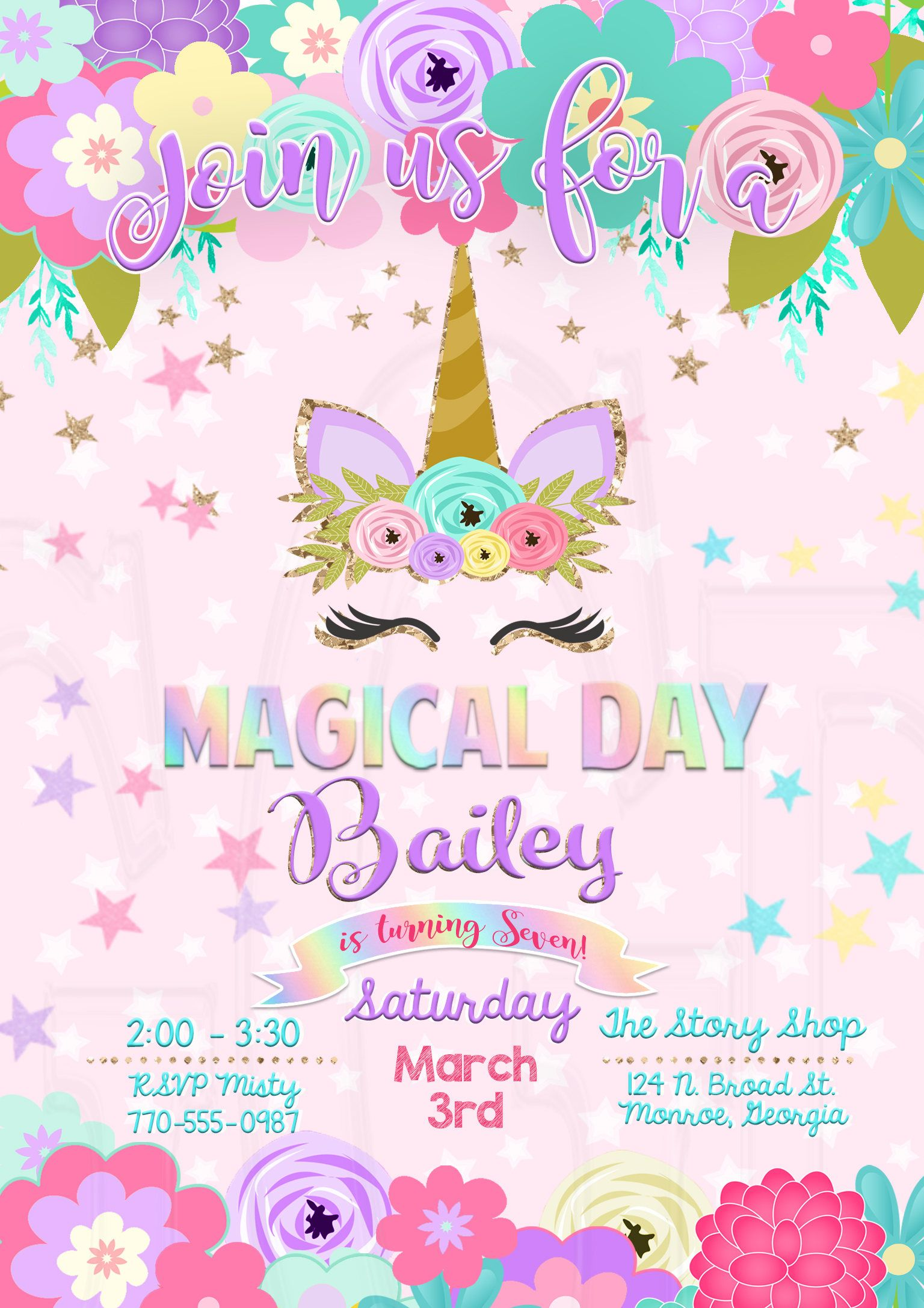 unicorn birthday invitation digital