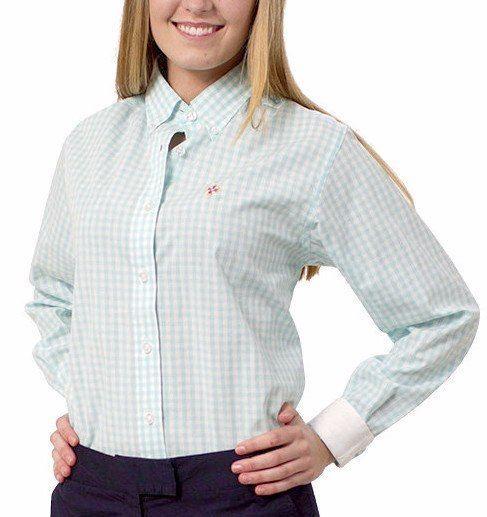 Ladies Button Down Shirt Aqua Gingham