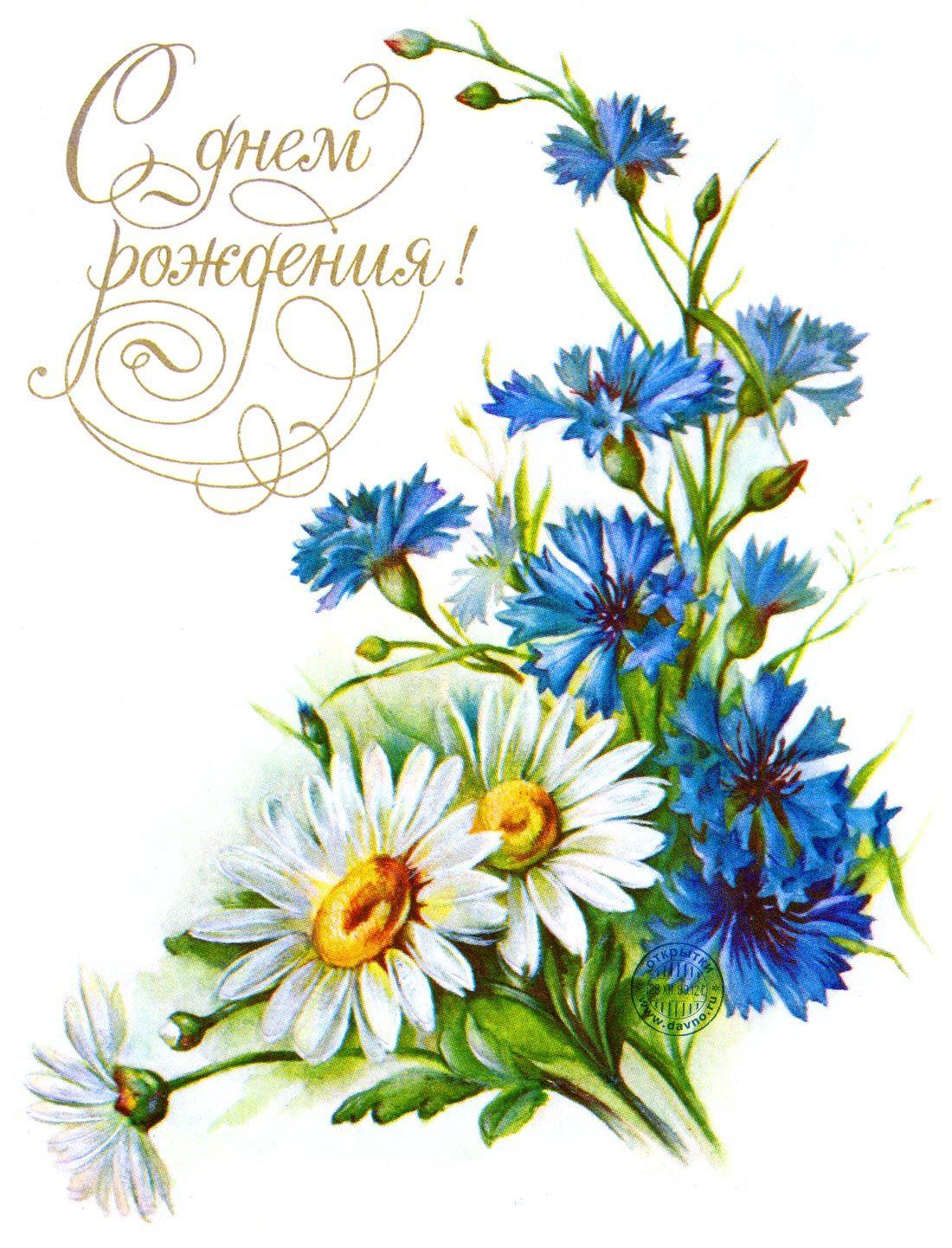 Поздравительная открытка василек 2 класс, счастья