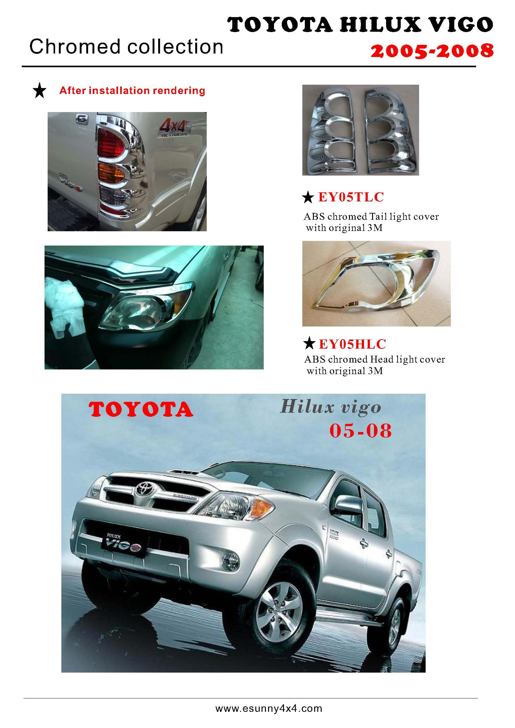 Hilux vigo 05 08 head light cover tail light cover