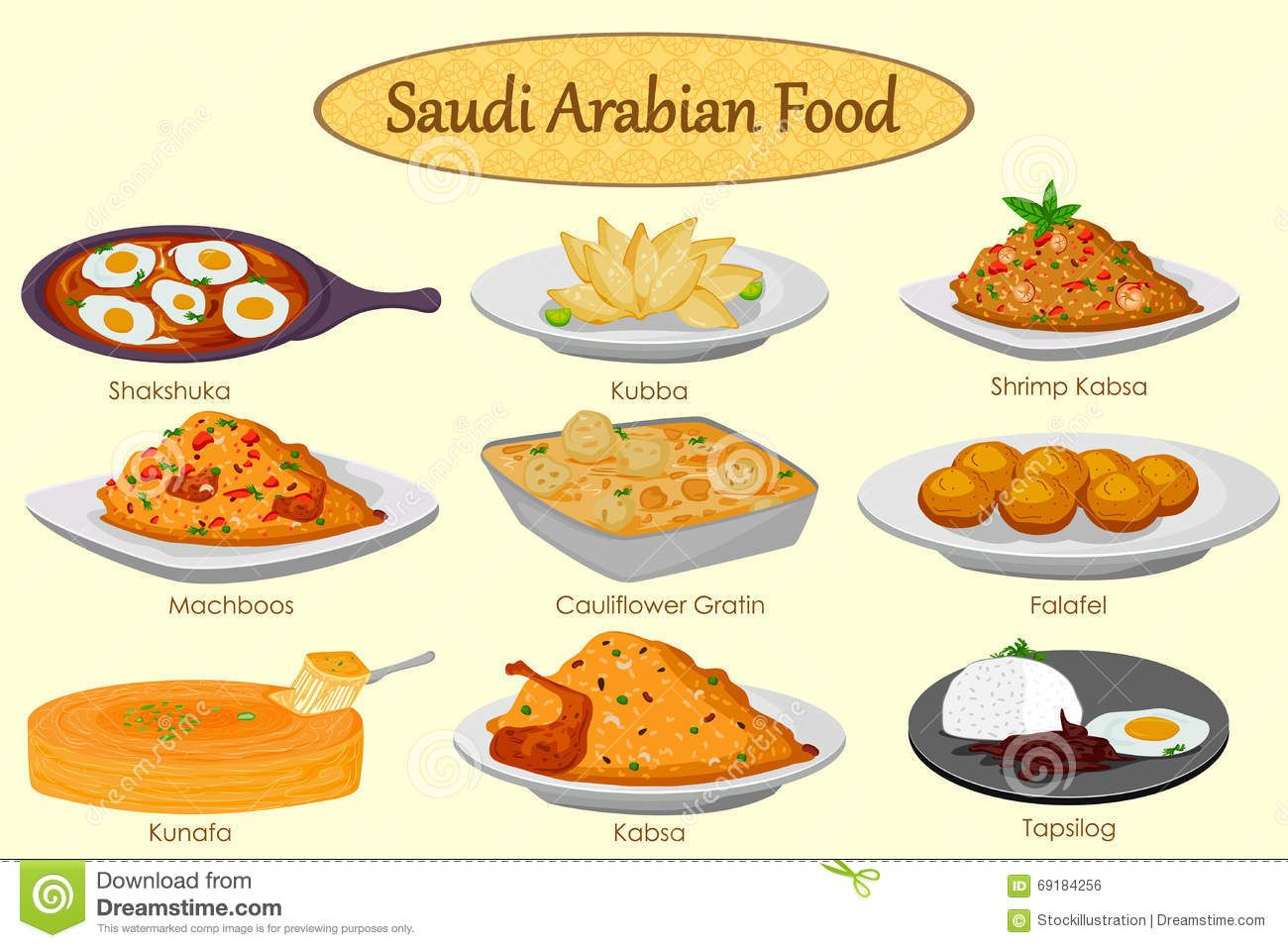 Collection Of Delicious Saudi Arabian Food Stock Vector