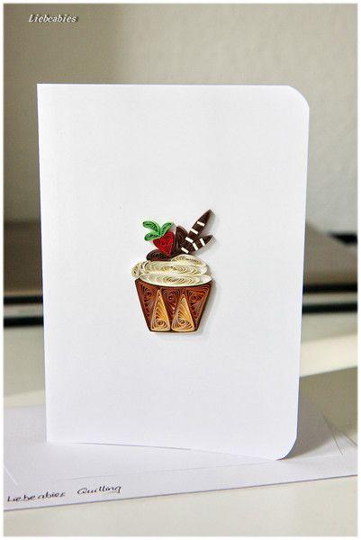Quilling Grusskarte Geburtstag Cupcake Muffin Von Liebeabies Auf