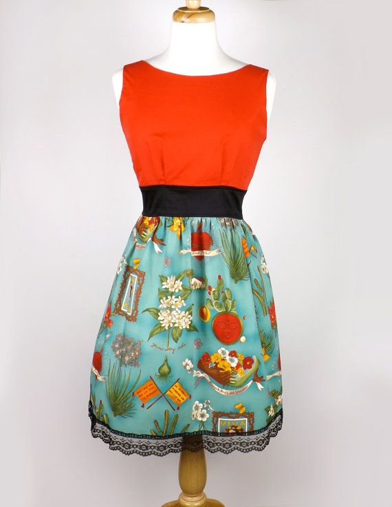 Frida Kahlo Mexican Art Inspired Dress By Vintagegaleria