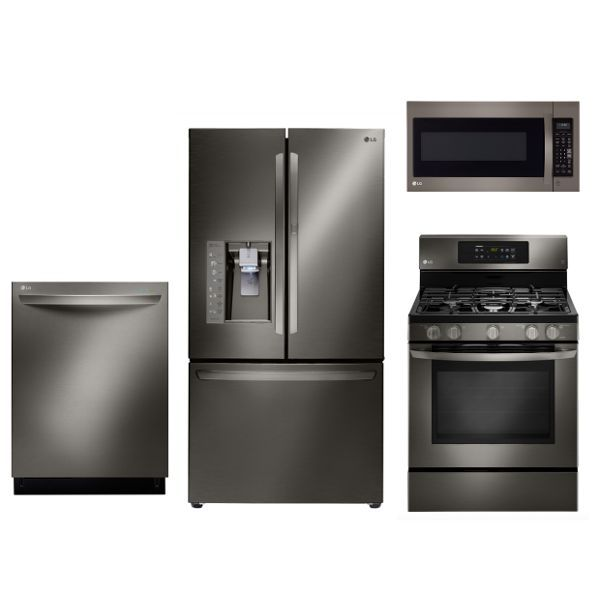 Lg 4 Piece Gas Kitchen Appliance Package With 29 6 Cu Ft French Door Refrigerator Black Stainless Steel Kitchen Appliance Packages Stainless Steel Kitchen Appliances Kitchen Appliances