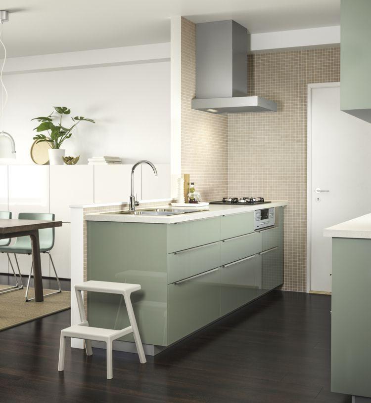 Kallarp türen grün hochglanz weiße arbeitsplatte | Wohnideen Küche ...