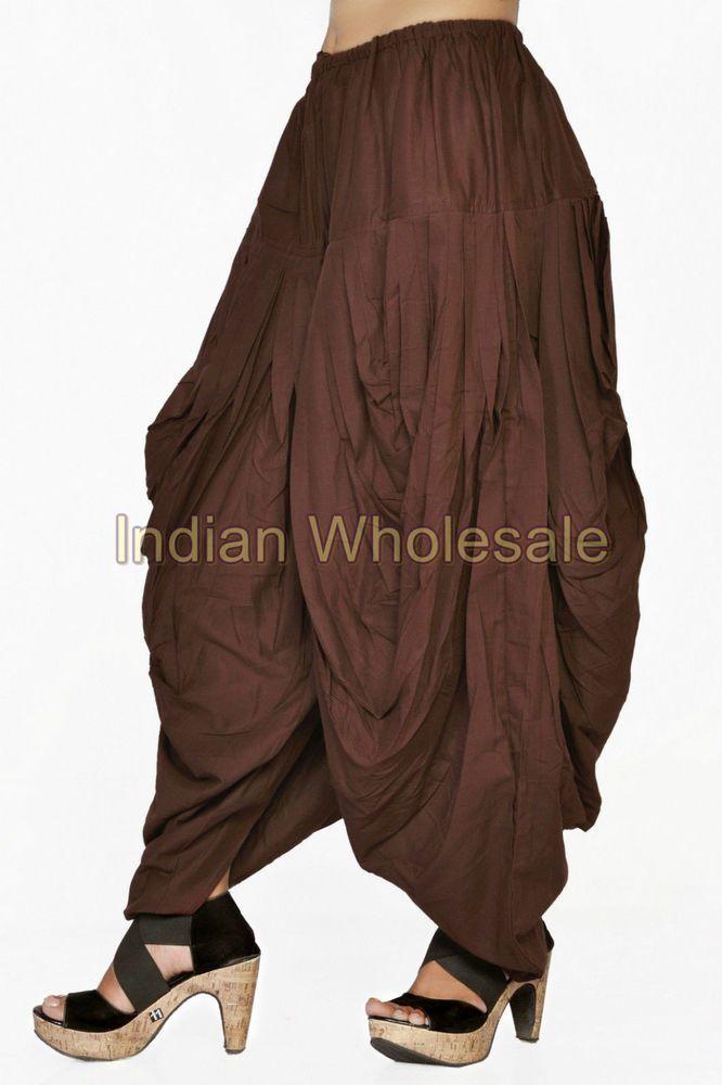 c6ca1670c1ef Indian Women Brown Patiala Dhoti Salwar Pants Trousers IWUS9011BR  Handmade   PantSets