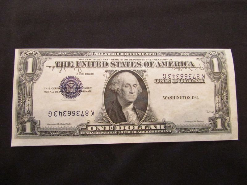 Misprinted 1935 D $1 Silver Certificate. Serial number K87366343G is ...