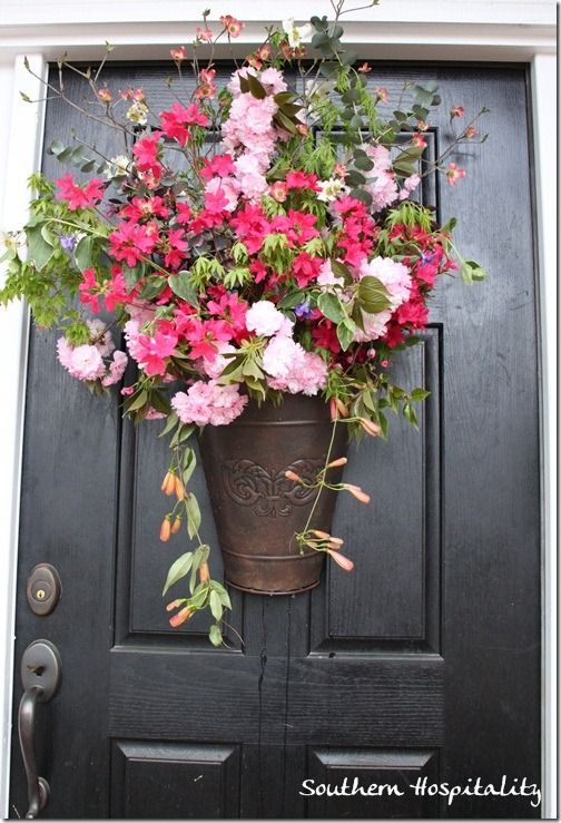 Fresh spring floral door bucket spring starts and front Spring flower arrangements for front door