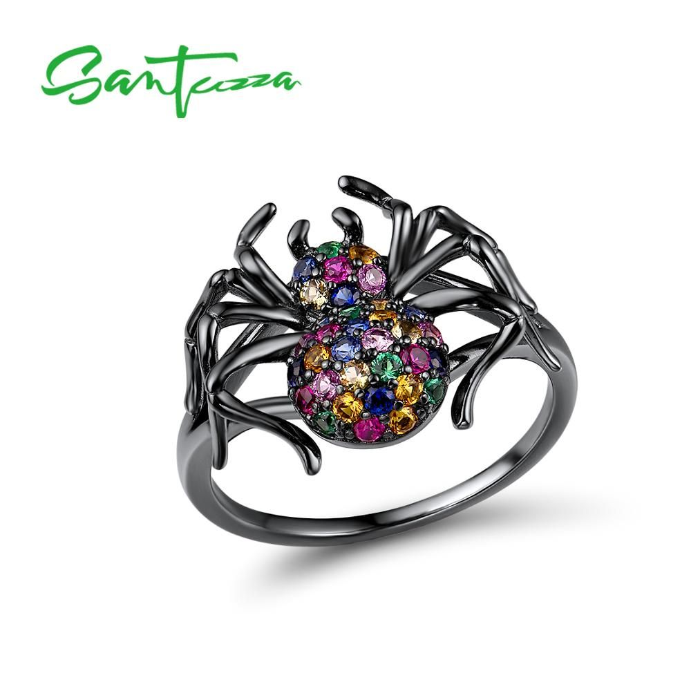 SANTUZZA Handmade Black Spider Ring 925 Sterling Silver with Charming Cubic Zircon Fashion Jewelry