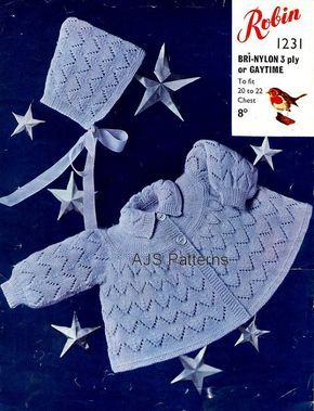 68de0c6ad PDF Knitting Pattern for Babies Traditional Styled Matinee Coat and ...