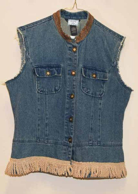 highly praised rational construction search for original Women's Denim Vest L with Stand-Up Collar and Fringe in 2019 ...