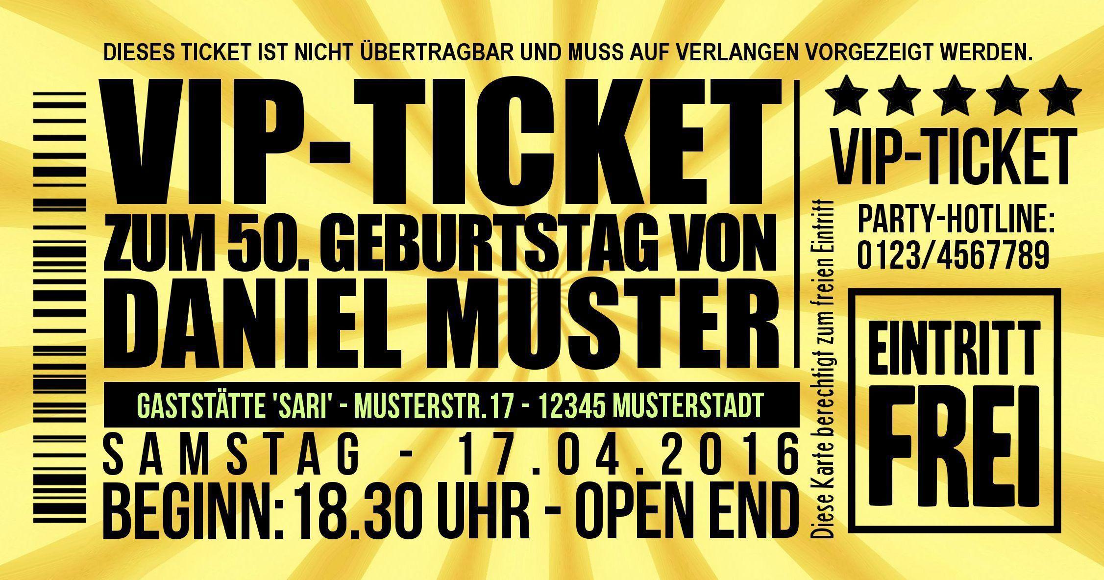 Einladungskarten 50 Geburtstag Kostenlos Zum Ausdrucken | 40 ...
