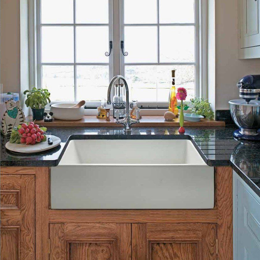 24 X 18 Plain Front Fireclay Reversible Apron Farmhouse Sink With