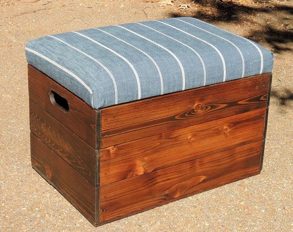 Cedar Ottoman Plans ~ Cedar wooden crate foot stool seat file storage by