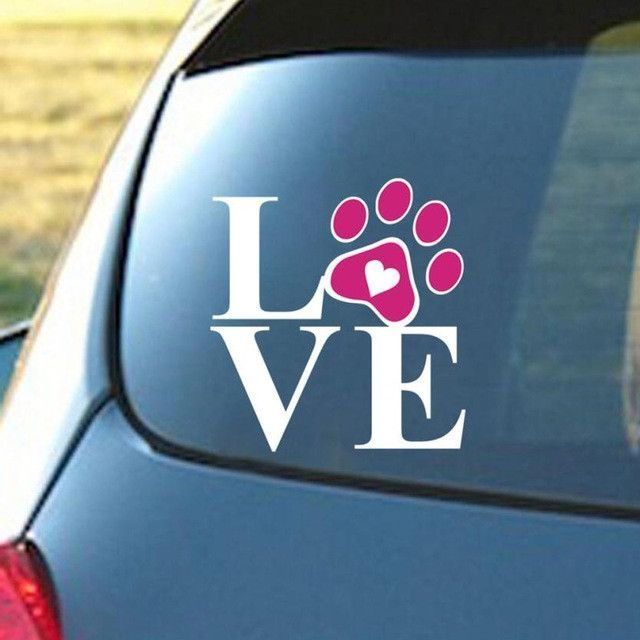 Hight recommond heart with dog paw puppy love decal window sticker for cars walls vinilos decorativos