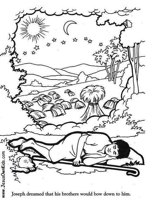 Joseph dreams coloring pages sunday school pinterest for Bible coloring pages joseph