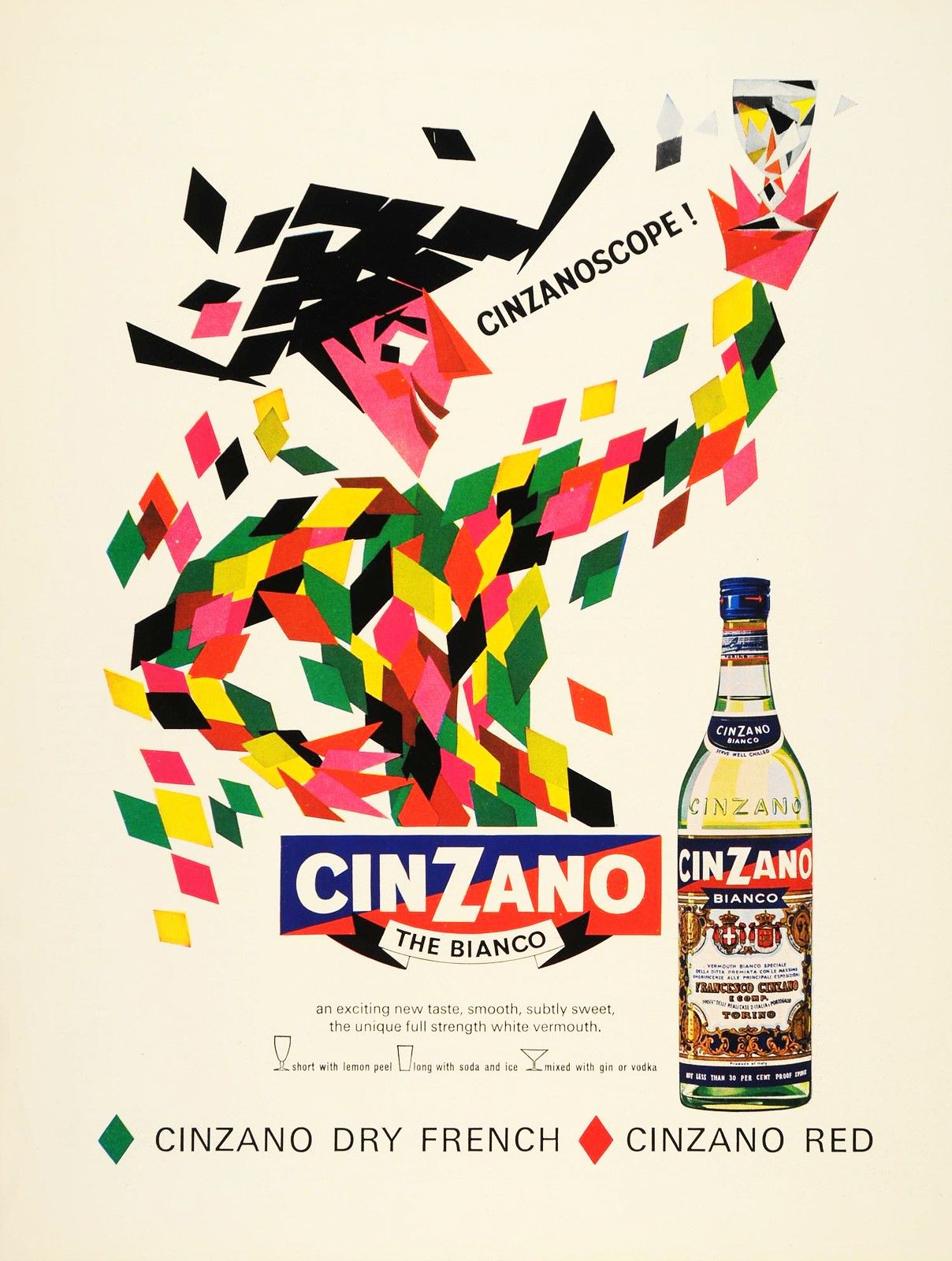 1900/'s Cinzano Vermouth Wine France French Spirits Advertisement Art Poster
