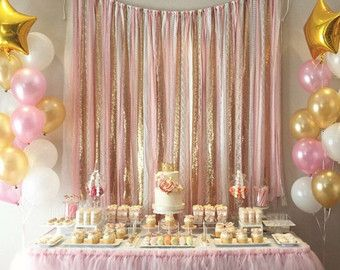 Rose Gold Sequin Garland Backdrop Rustic Chic By