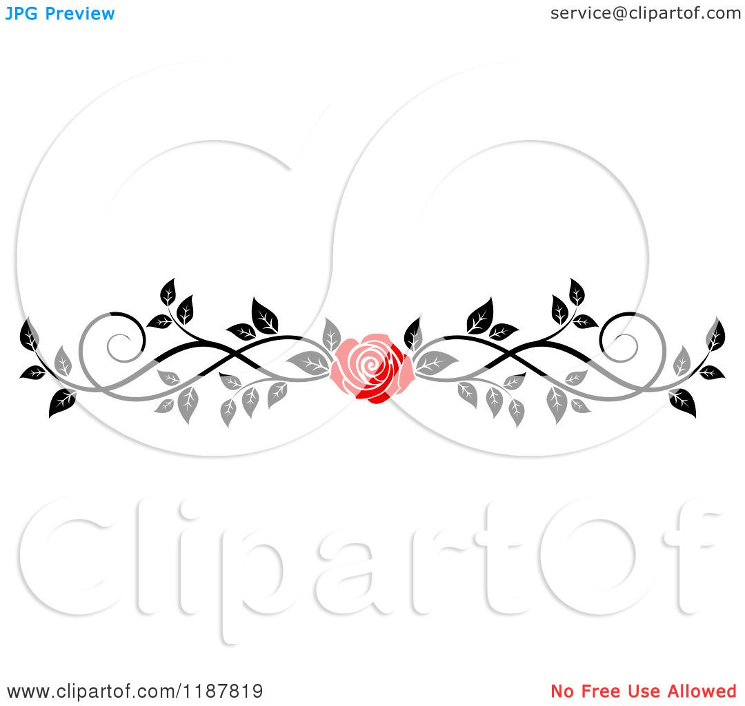 Clipart of a Red Rose and Black and White Foliage Border Page Rule ...