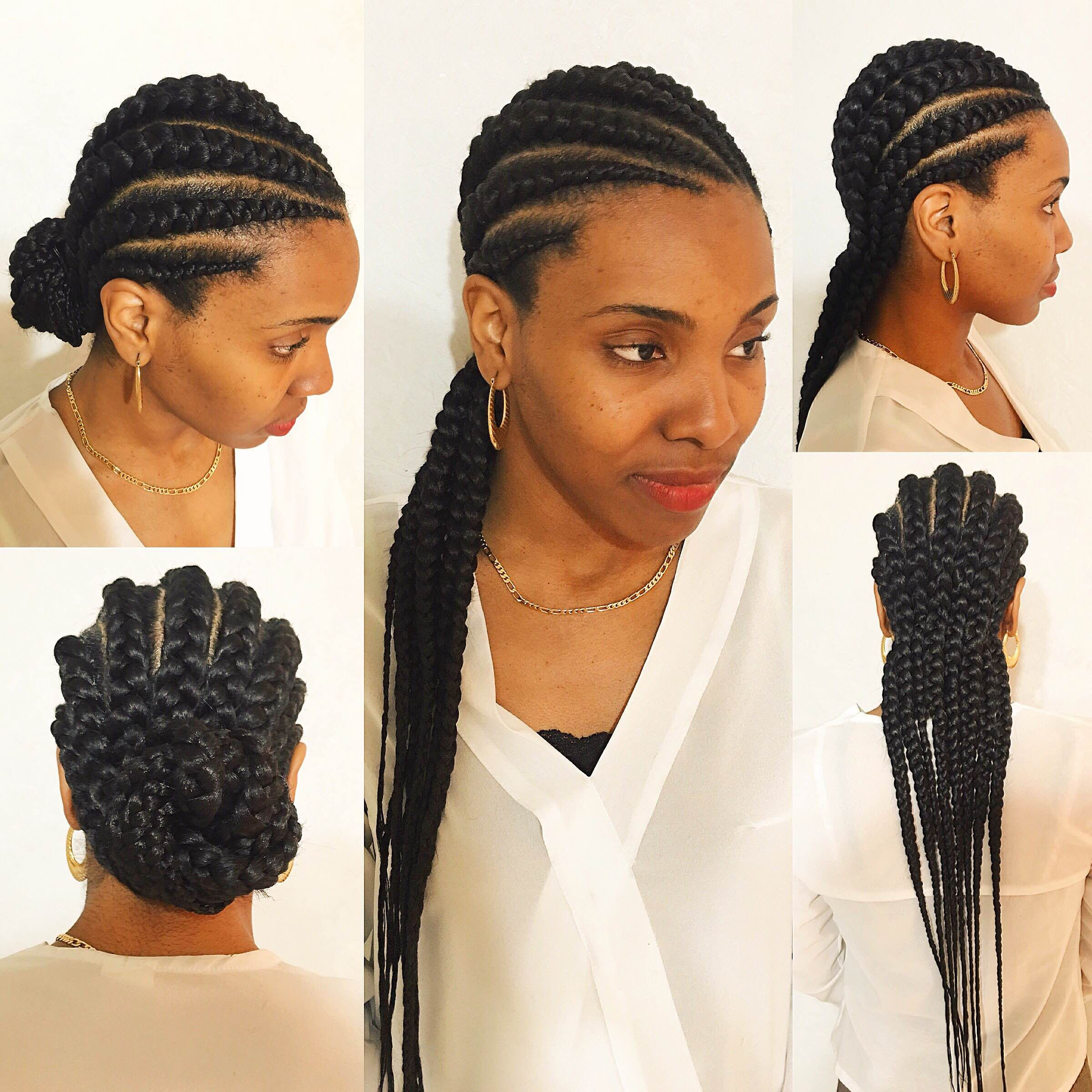 large cornrow braids | big cornrows londons beautii styled