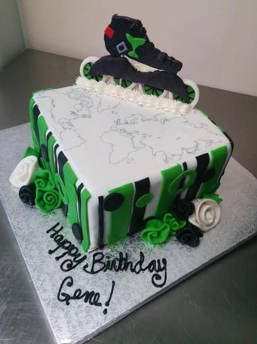 Rollerblade Cake With Fondant Flowers For A Birthday Birthday Cake Kids Fondant Cakes Skate Party