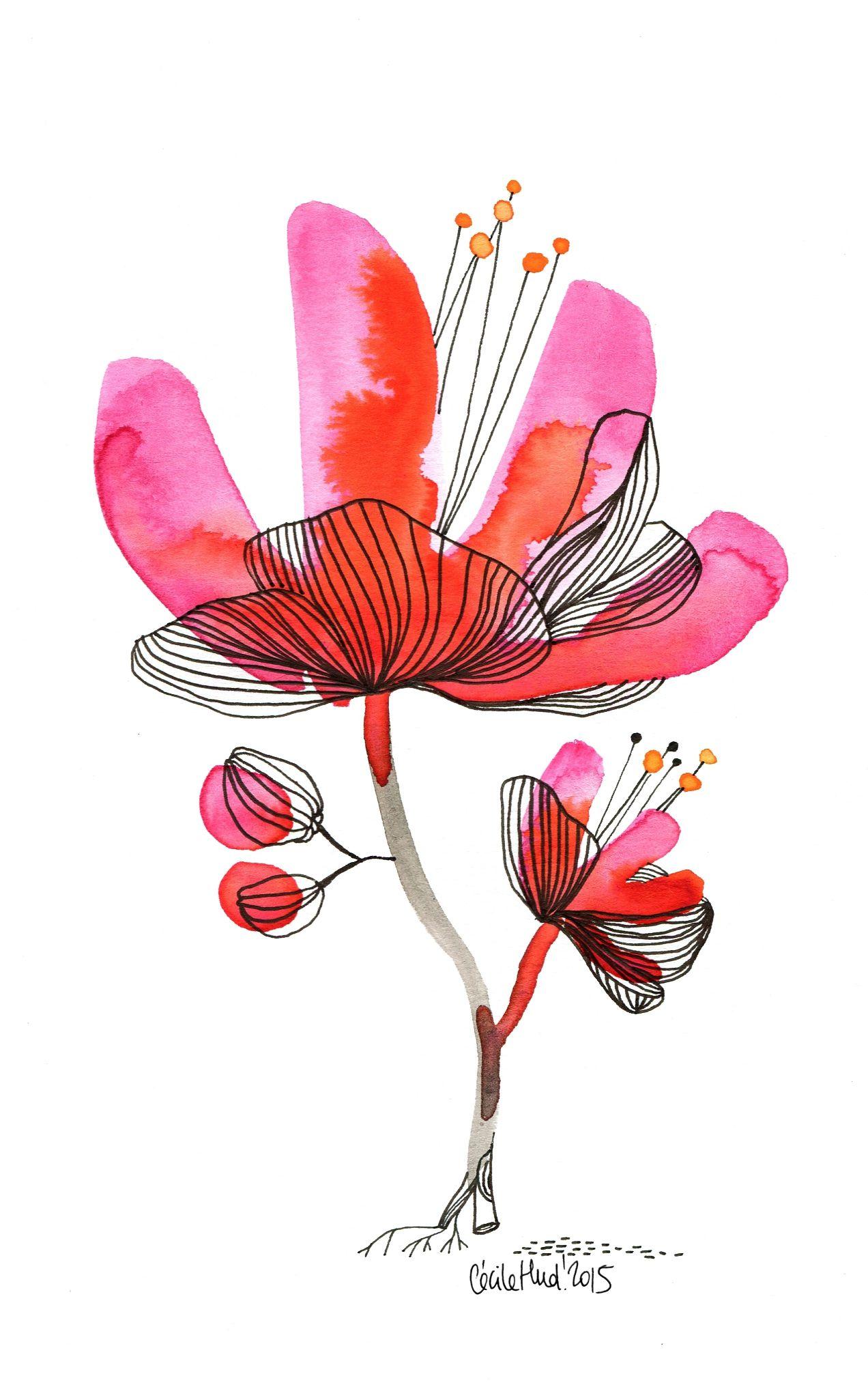 Fleur Rouge Les Chosettes Illustrations De Fleurs Dessin
