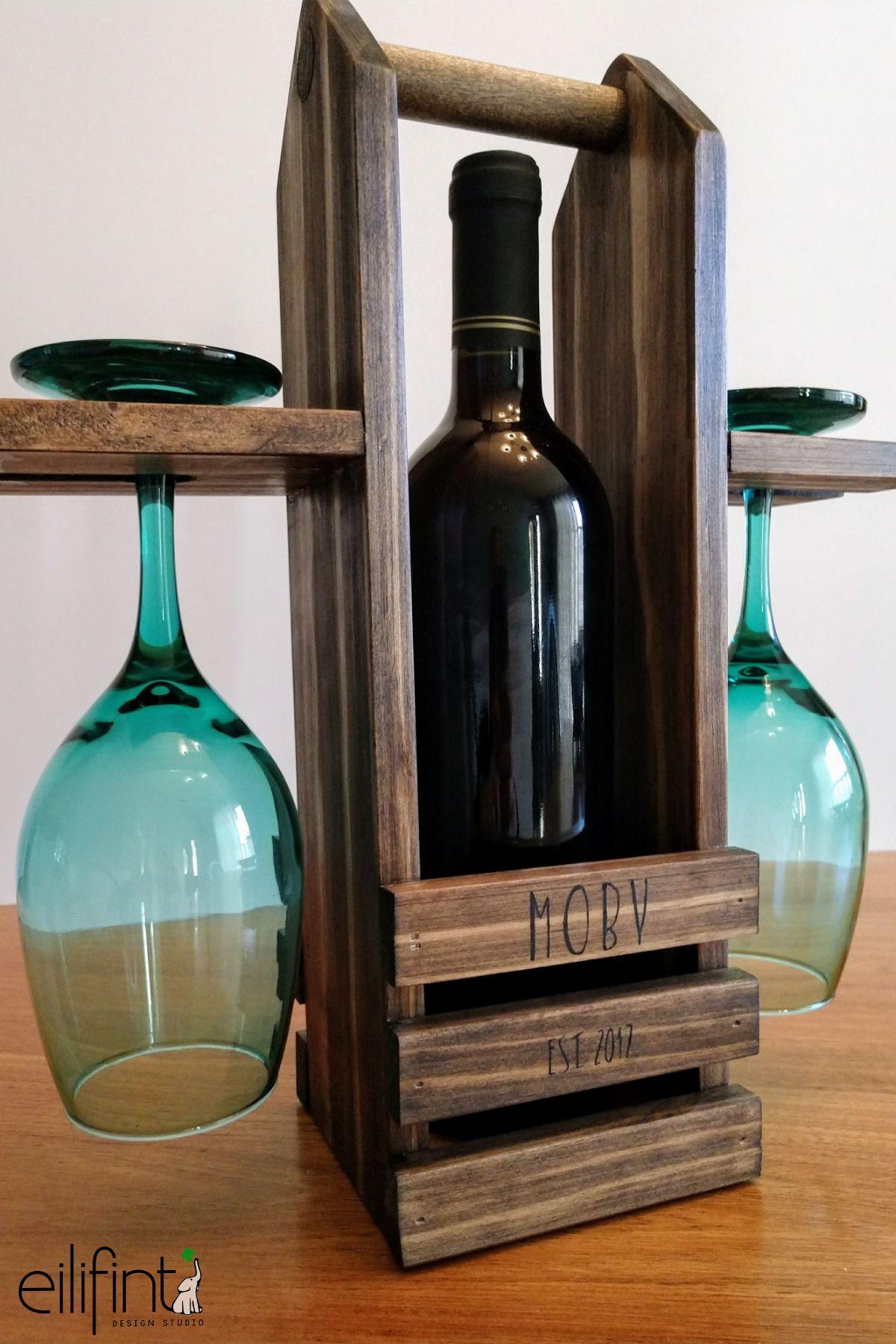 Wine Caddy In 2020 Wine Bottle Glass Holder Rustic Wine Racks