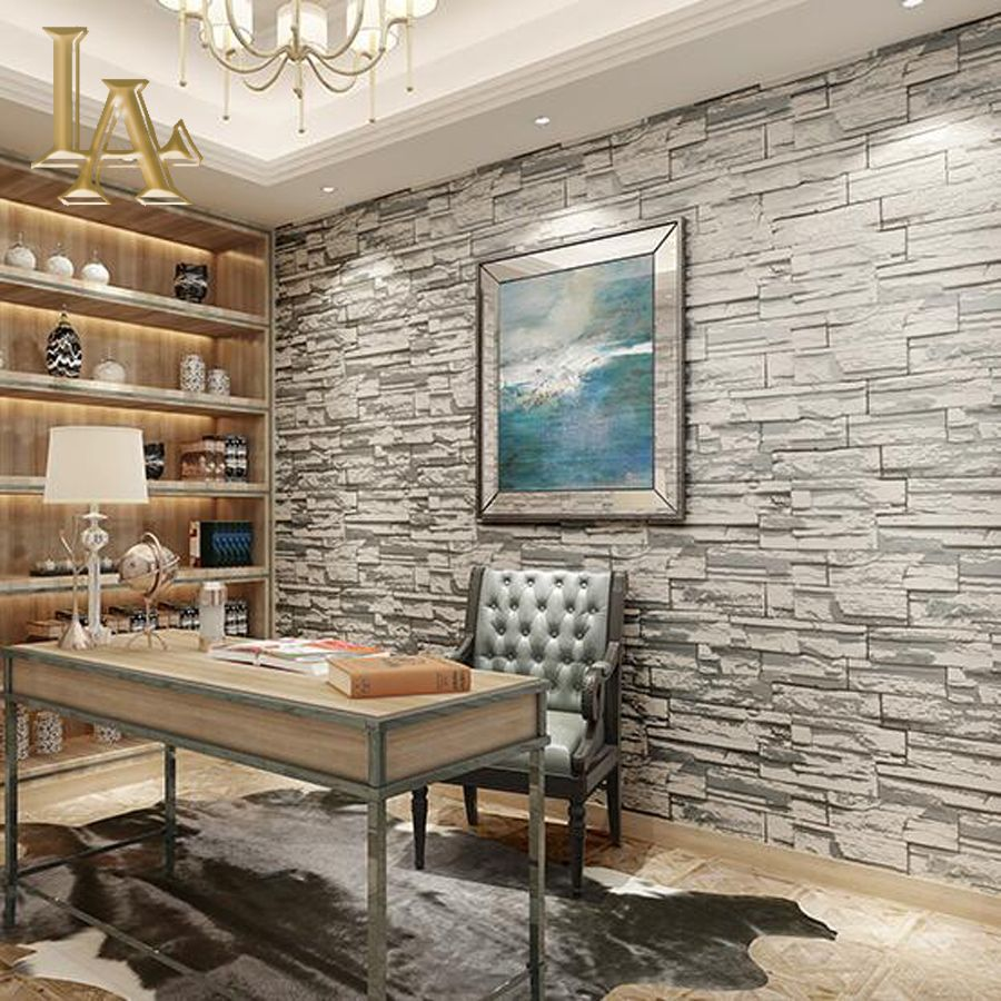 Yellow Grey Stone Brick Wallpaper For Walls 3 D For Bedroom Living Room Background Vintage Wall Papers Home Decor W389 Affiliate Interiores Salones Pared