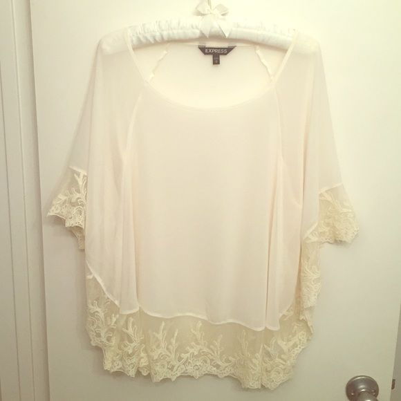 984030ed32e1a Express Sheer Boho Top w/ Lace detail Cream colored sheer top with lace trim.  Perfect for festival season!! Can be worn with tanks, bralettes or even as  a ...
