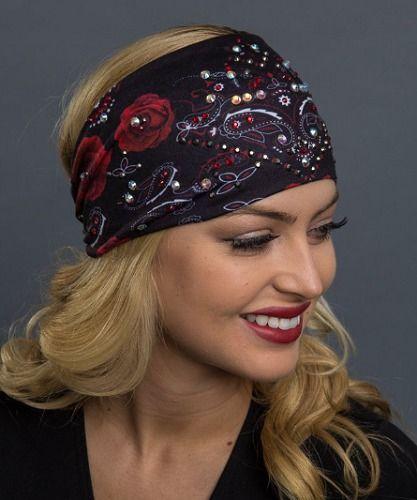 Rose and Paisley Hairband Headband Headwrap Biker Style Hair Glove EZ Bandz   daa4eda8140