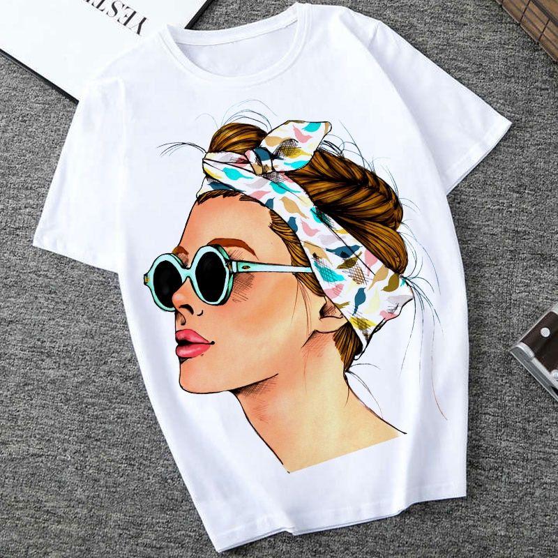 Qiyun Z Pestanas Camiseta Mujer Manga Corta Hipster Avenue Estilo Casual Mujer Camisetas Hipster Ropa