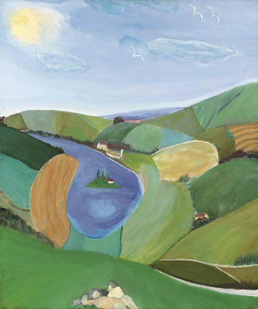 Lovers on a hillside, Bob Bourne. English, born in 1931.  http://poboh.tumblr.com/