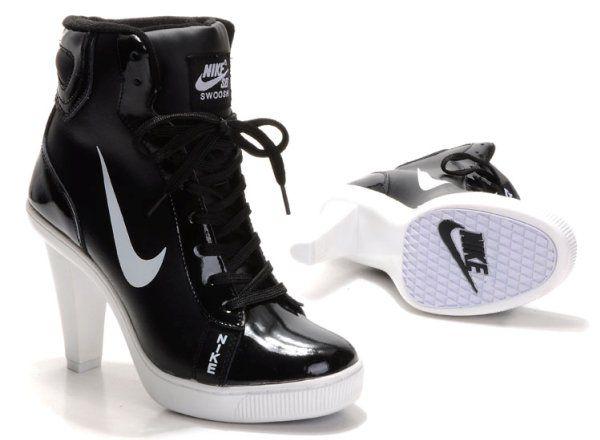 cartoon high heel High Tops   Womens Nike Dunk SB Swoosh High Heels Black  White
