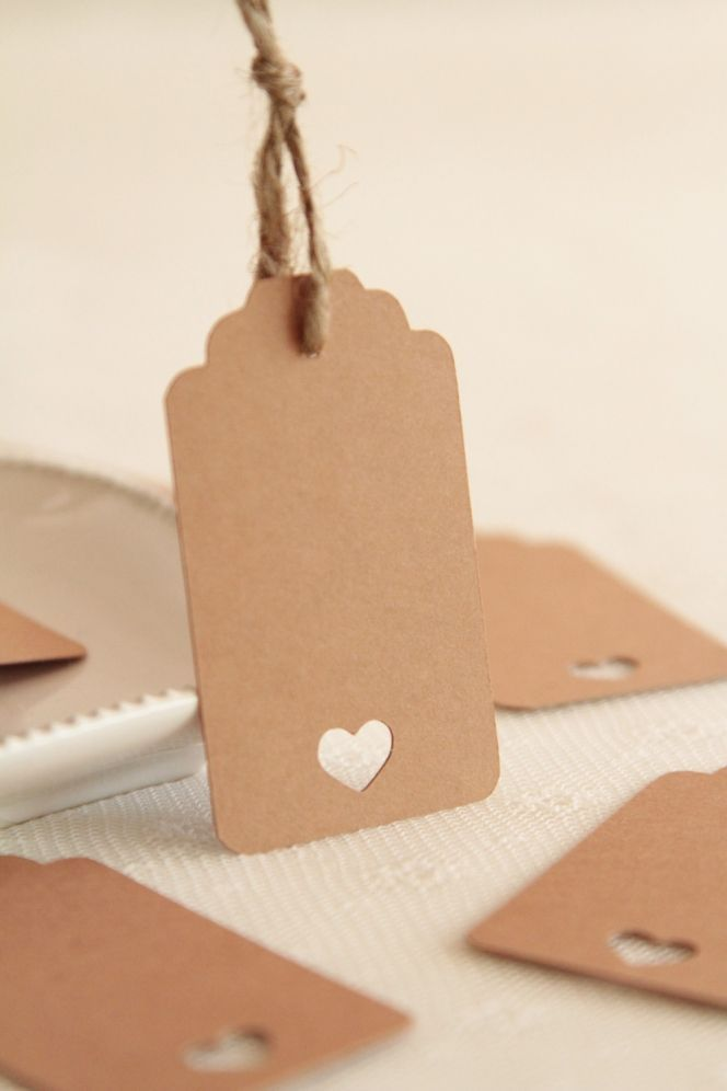 Cut Out Heart Border Natural Card Large Gift Tags Brown per pack of 10 PP...