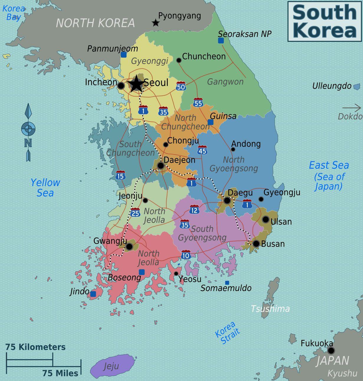 carte de corée du sud Carte Corée du Sud (avec images) | Corée du sud, Corée, Carte des