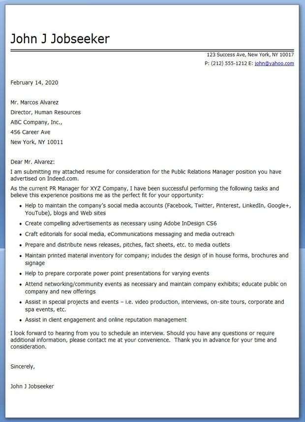 Cover Letter Public Relations Manager Job Cover Letter Sample