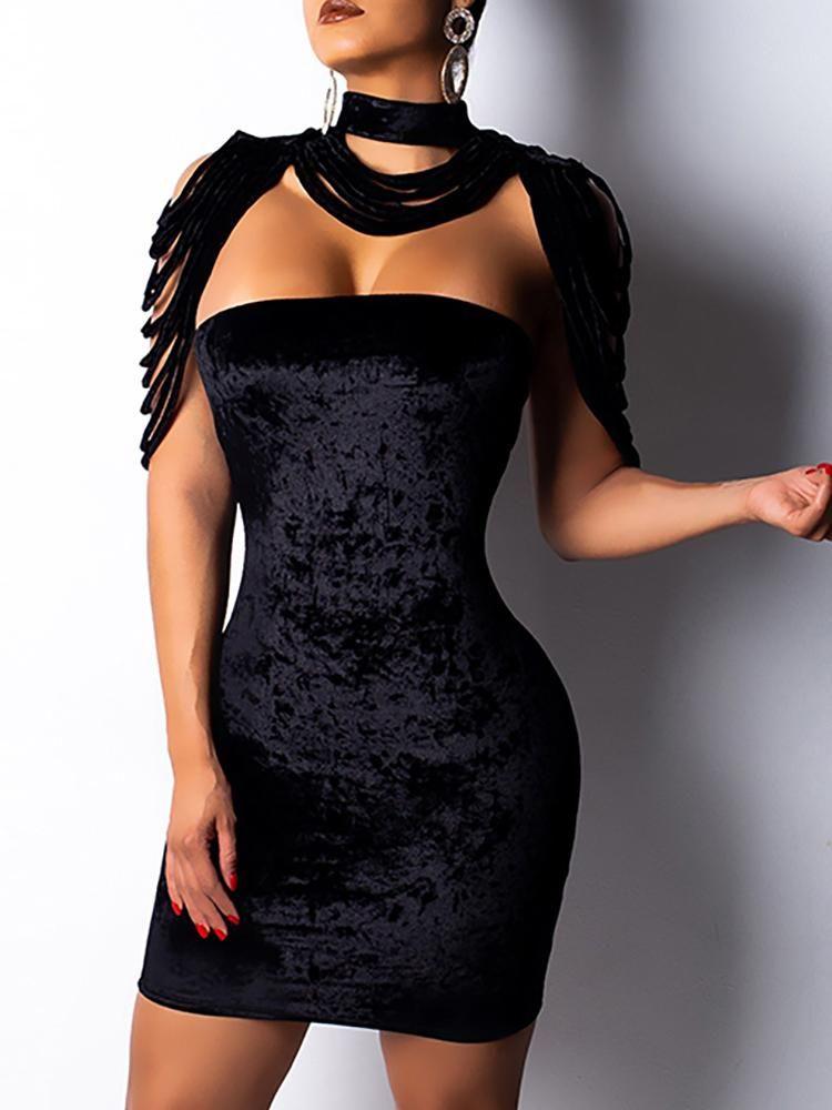 e5733e3182b Tassel Design Velvet Bodycon Dress Online. Discover hottest trend fashion  at chicme.com