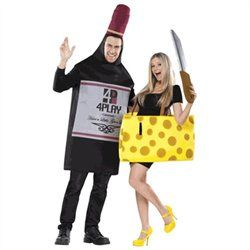 The Wine and Cheese Couples Costume- You'll class up the joint at any celebration by wearing this funny couples costume that includes a foam wine bottle tunic, a foam cheese tunic and a knife.