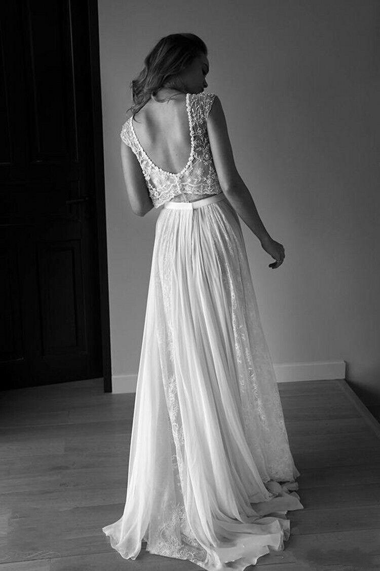 lace vintage beach wedding dresses bohemian boho cap sleeve