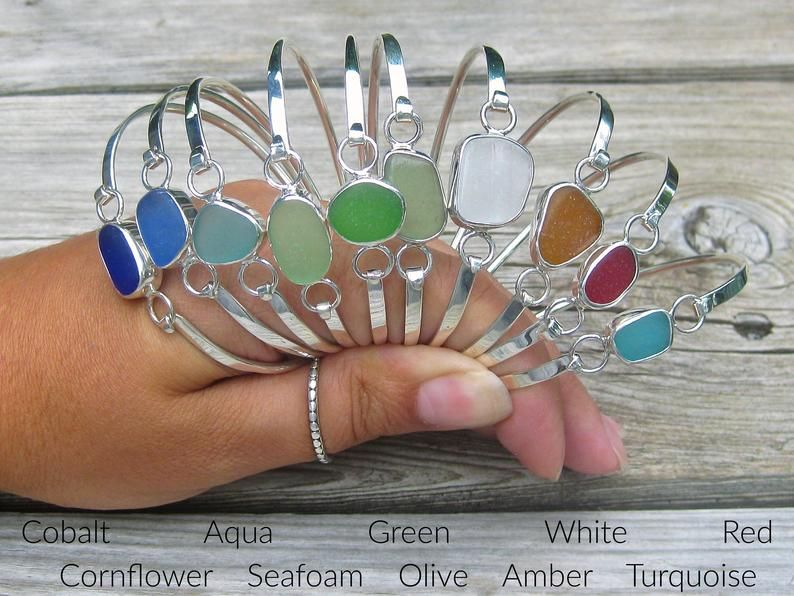 Photo of Sea Glass Hinge Bangle Bracelet | Sea Glass Jewelry | Sea Glass Bracelet | Bangle Bracelet | Beach Glass Bracelet | Seaglass Jewelry