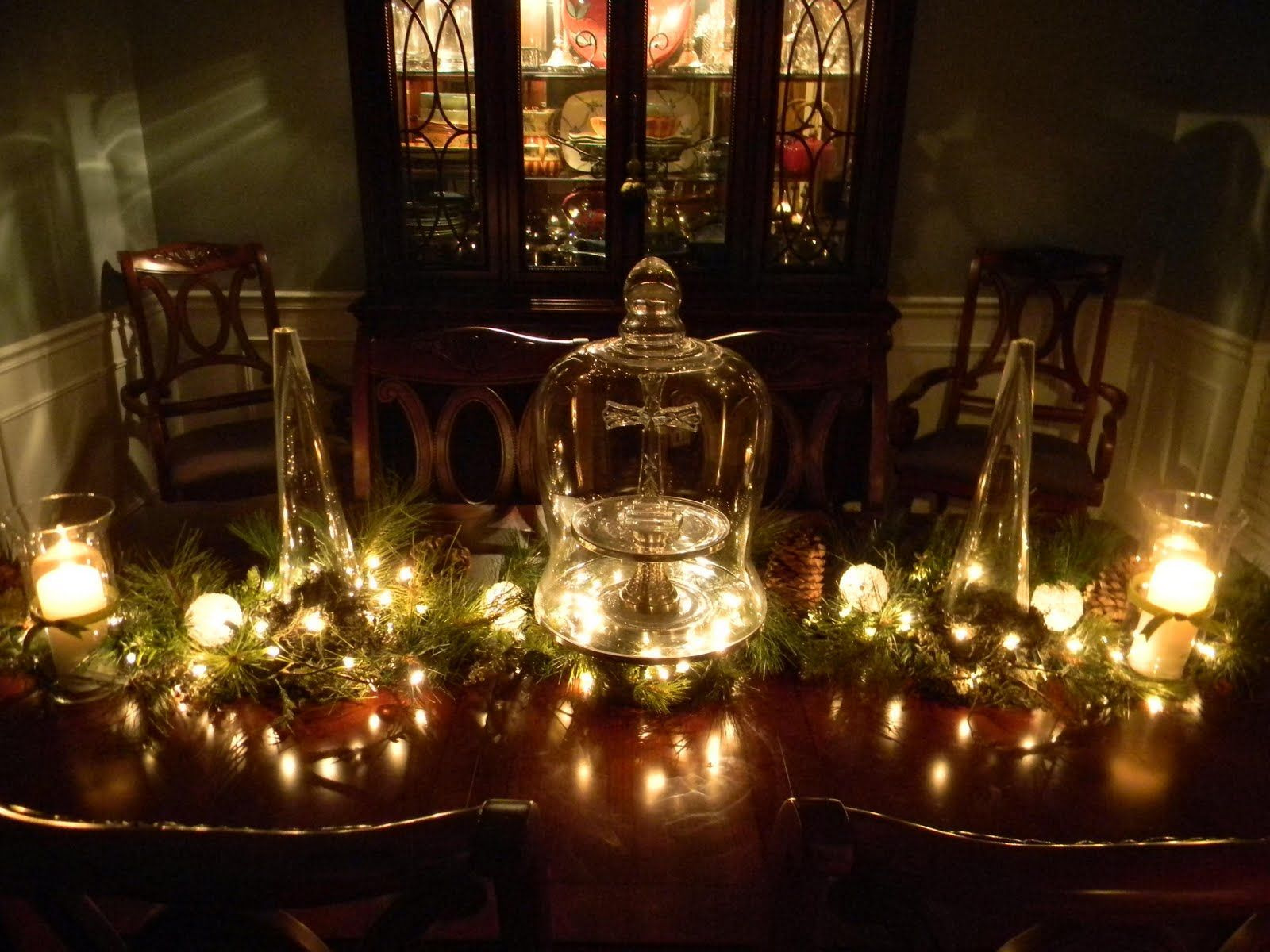 Romantic Christmas Decorations Ideas Table With Glass Candle Hold Christmas Table Decorations Dining Room Table Centerpieces Christmas Decorations Dinner Table
