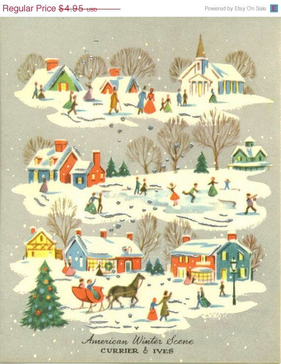 vintage christmas scenes | 15% OFF SALE Vintage Christmas Card ...
