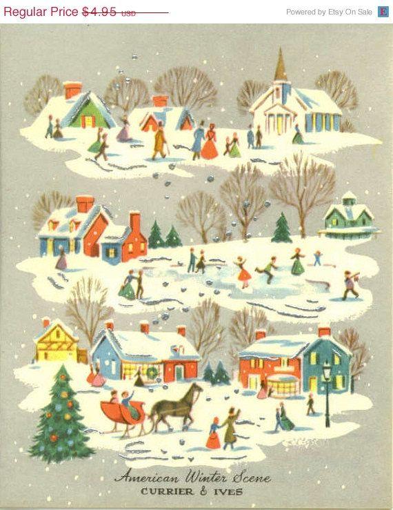 vintage christmas scenes   15% OFF SALE Vintage Christmas Card ...