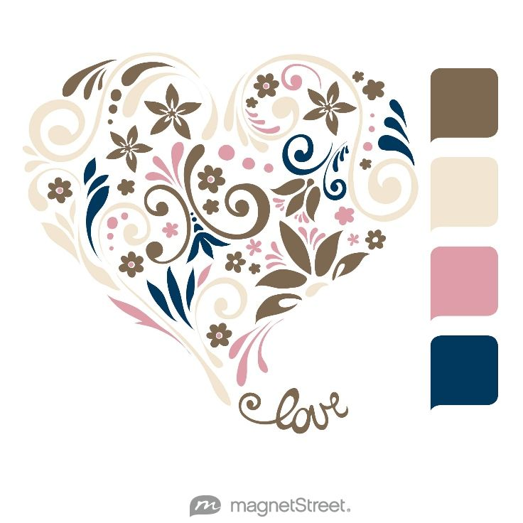 Latte, Champagne, Blush, and Navy Wedding Color Palette - free custom artwork created at MagnetStreet.com