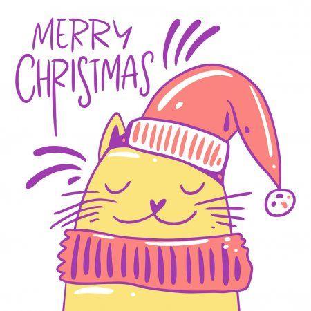Симпатичная кошка в шляпе и шарфе. Характерный ...