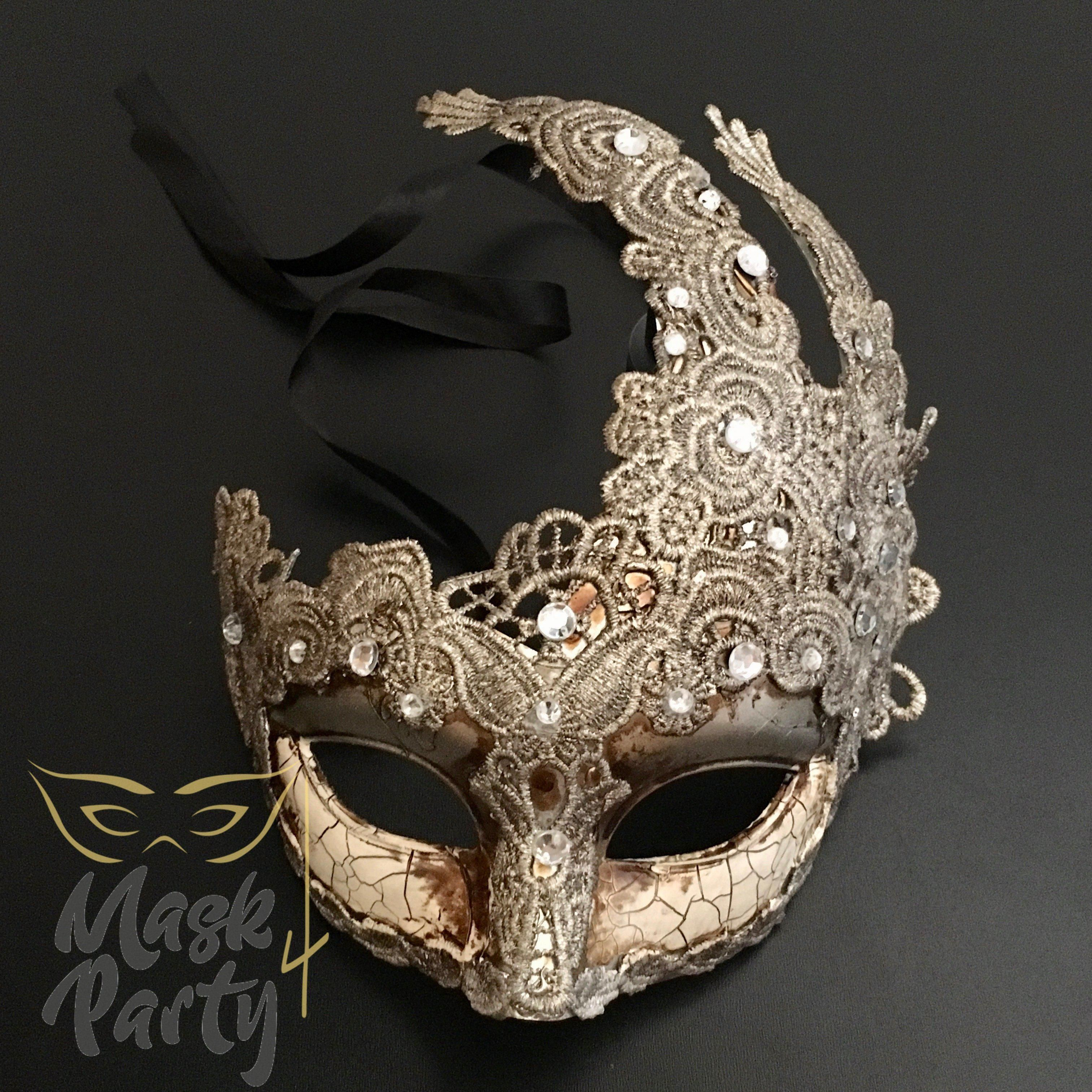 Venetian Mardi Gras Brocade Lace Masquerade Mask with Clear Rhinestones Ivory