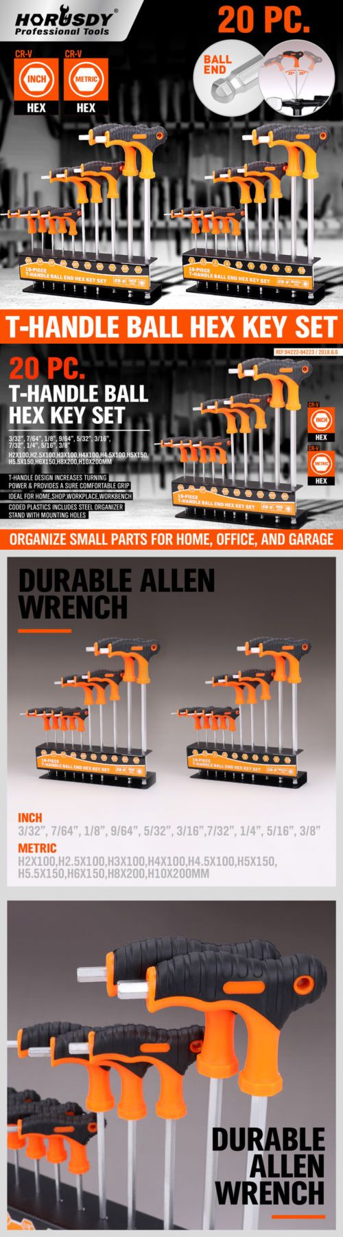 Hex Keys And Wrenches 42258 20 Pc Sae And Metric T Handle Allen Wrench Ball End Hex Key Set W Storage Stand Buy It Now Only Hex Key Storage Stand Wrench