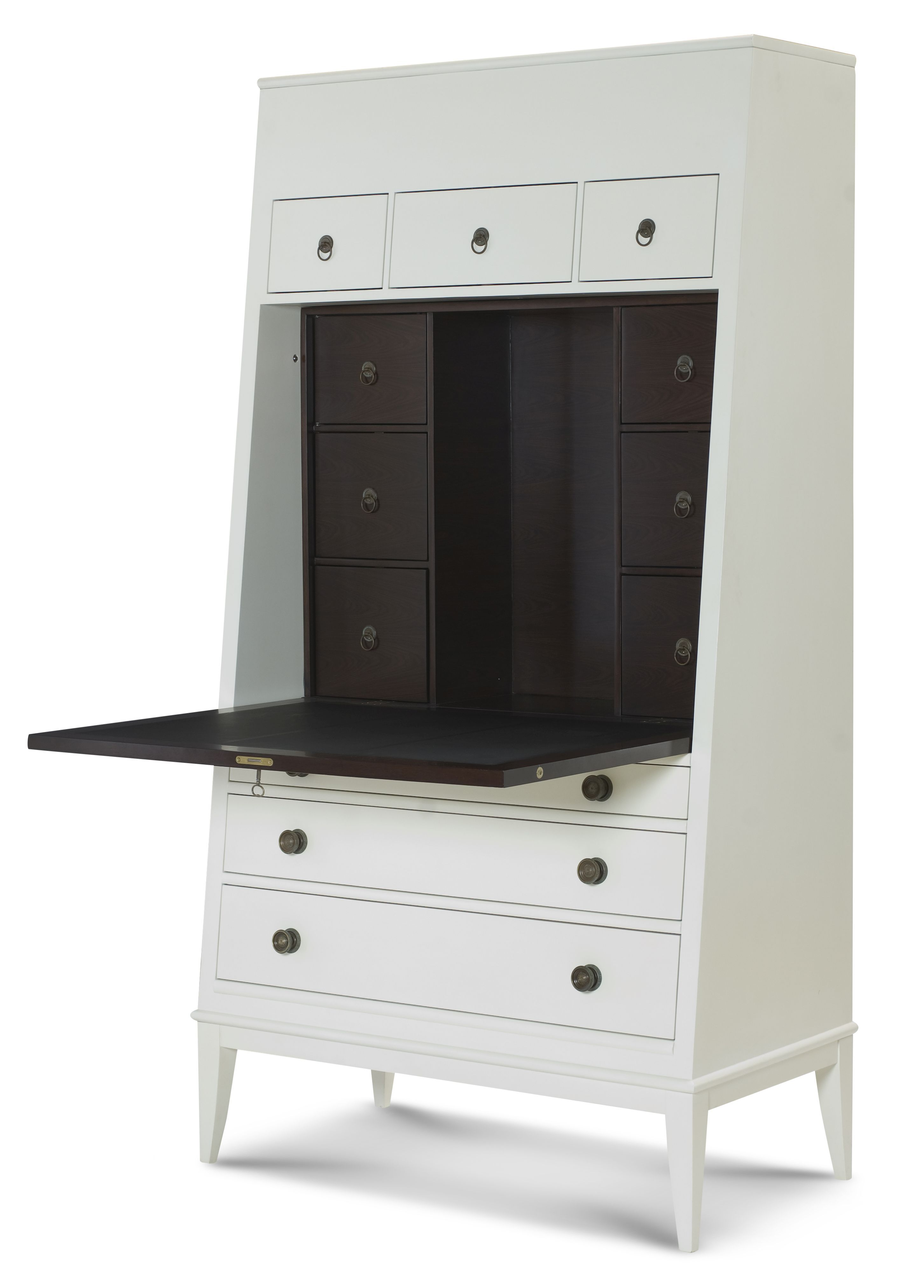 Hawthorne Secretary Desk In Antiqued Ivory Lift Top Storage Above Three  Drawers Drop Front With Six